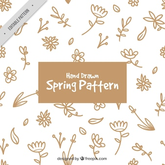 Spring pattern with hand drawn flowers