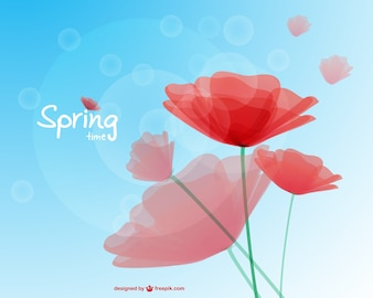 Spring poppies background