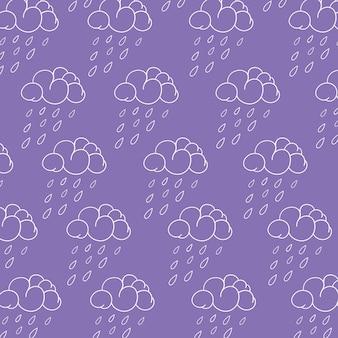 весна-дождевое облако линия-арт вектор