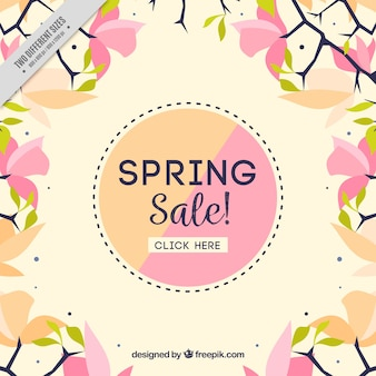 Spring sale background in flat design