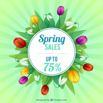 Spring sale background with colored flowers