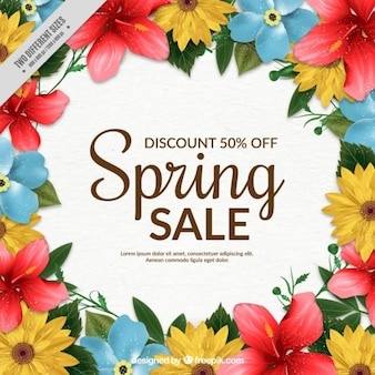 Spring sale background with colorful flowers