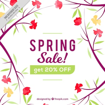 Spring sale background with floral decoration