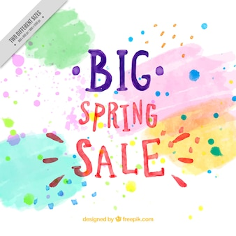 Spring sale background with watercolor stains