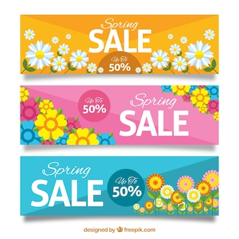 Spring sale banners with flowers