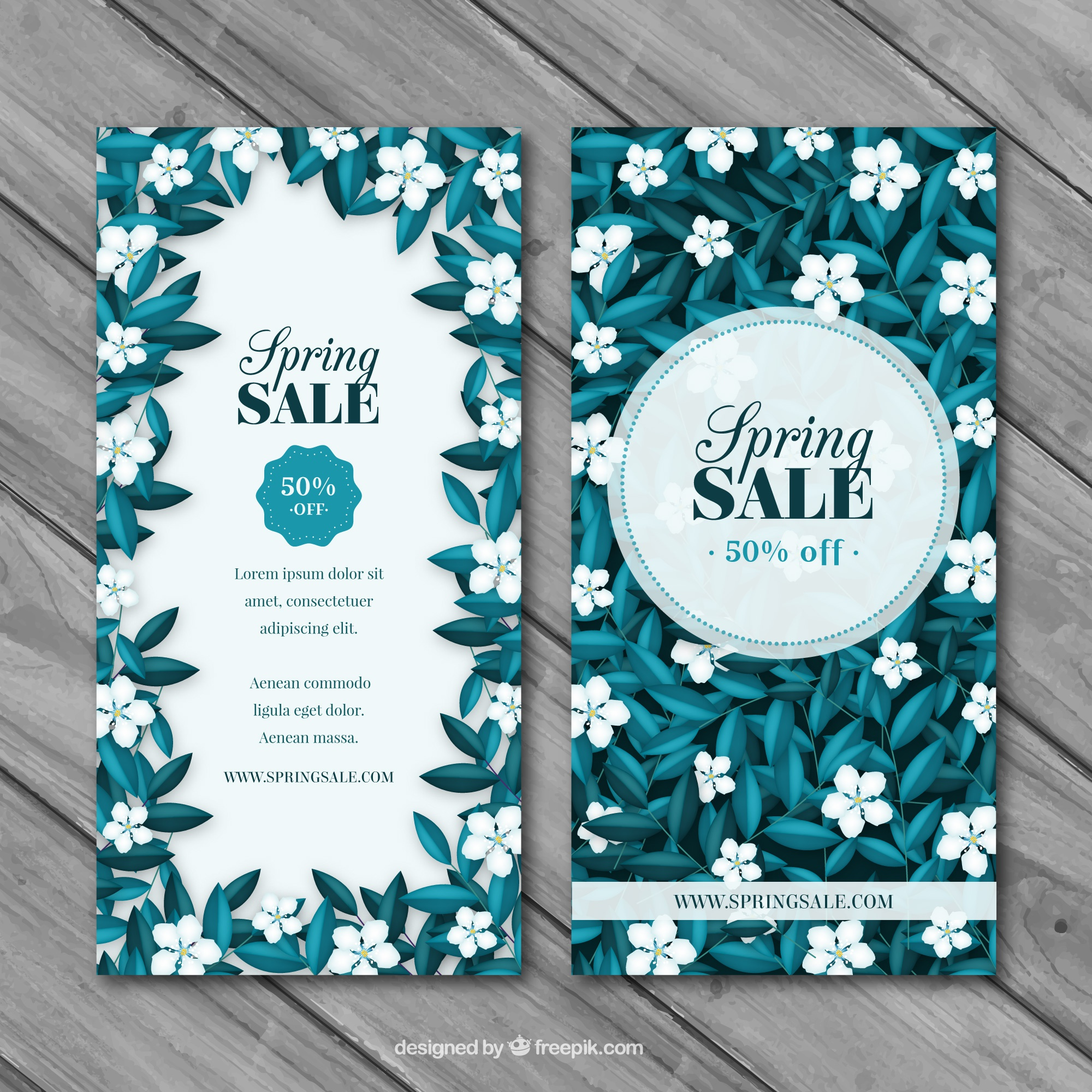 Spring sale banners with plants in blue tones