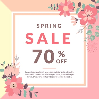 Spring sale template with flower