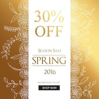 Spring sales background golden design