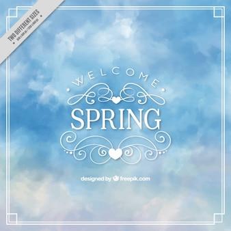 春の水彩画の空の背景