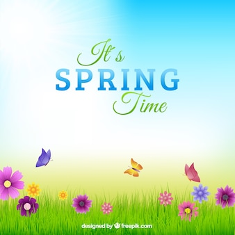 Springtime typography in colorful background