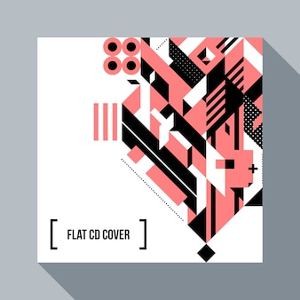 Square futuristic background/CD cover with abstract geometric element. Style of futurism and modern graffiti.