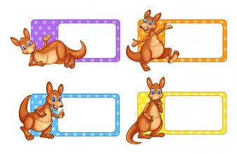 Square labels with kangaroo