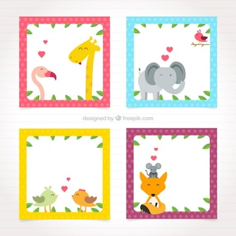 Squared frame with lovely animals