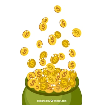 St patrick's day background of sack full of gold coins