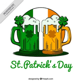 St patrick's day background with beers