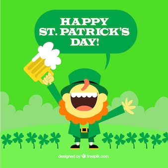 St patrick's day background with happy leprechaun in flat design
