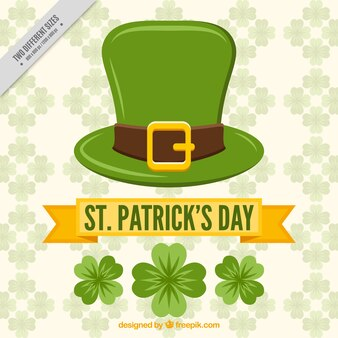 St. patrick's day background with hat and clovers