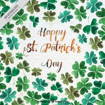 St patrick's day background with watercolor clovers