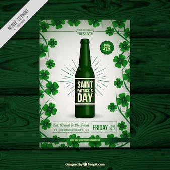 St patrick's day brochure template with beer bottle and clovers
