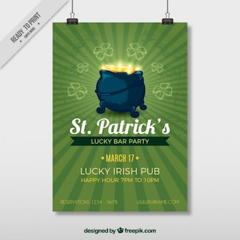 St patrick's day flyer with cauldron full of coins