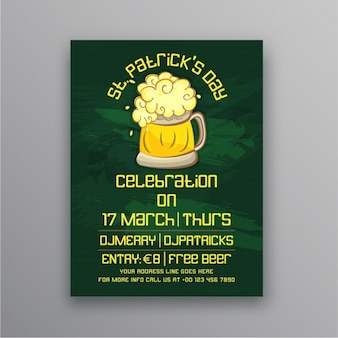 St patrick's day leaflet template with beer