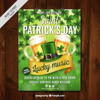 St patrick's day party poster in realistic style