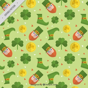 St patrick's day pattern with leprechauns and clovers