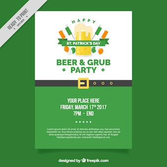St. patrick's party brochure in flat design