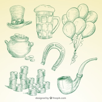 St patricks day elements in hand drawn style