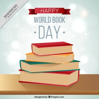 Stack books in world book day background