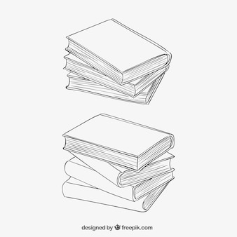 Stacked books in sketchy style