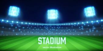 Stadium with lights and tribunes eps 10