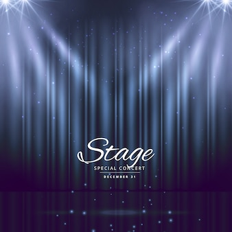Stage with lights and curtain