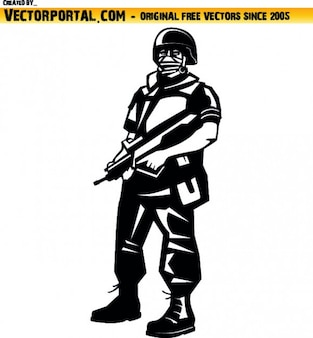 Standing soldier clipart
