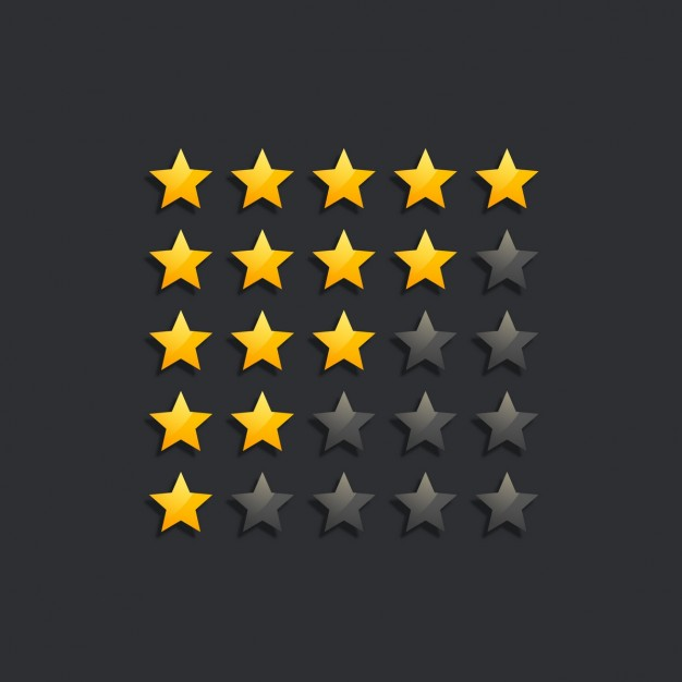 Star rating with black background