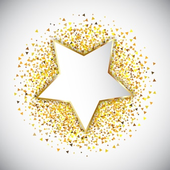 Star with golden confetti