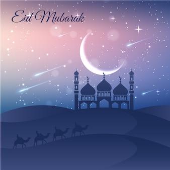 Stars and moon ramadan background