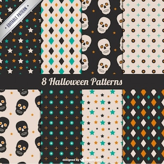 Stars and skulls halloween pattern set
