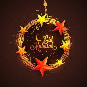 Stars wreath Eid Mubarak background