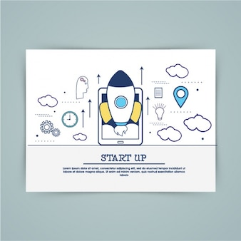 Startup background with mobile phone and rocket