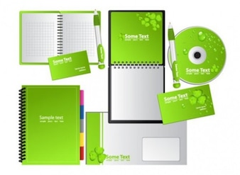 stationary products set in green color vector set