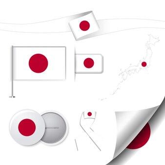 日本のデザインの旗のステーショナリーコレクション