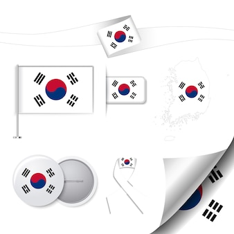 Stationery collection with the flag of south korea idesign