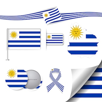 Stationery collection with the flag of uruguay design