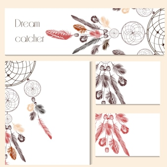 Stationery decorated with dreamcatcher drawings