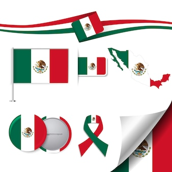 Stationery elements collection with the flag of mexico design
