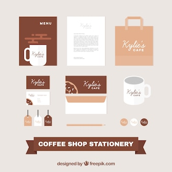 Stationery for coffee in flat design