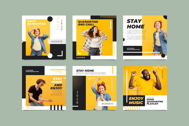 Stay at home event instagram post collection template