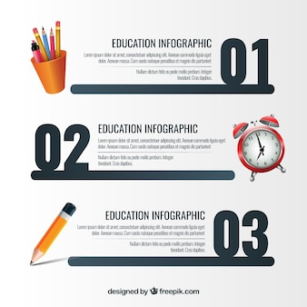 Steps template with elements of school