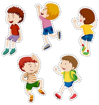 Sticker set of happy boys illustration